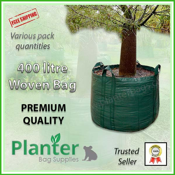 400 litre Woven Planter Bags - for more info go to PlanterBags.com.au