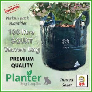 100 litre Squat Woven Planter Bags - for more info go to PlanterBags.com.au