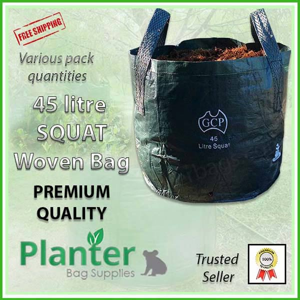 45 litre Squat Woven Planter Bags - for more info go to PlanterBags.com.au
