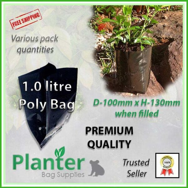 1 litre Planter Bags - Polyethylene Growbags - for more info go to PlanterBags.com.au