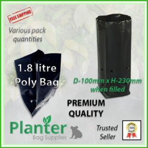 1.8 litre Tall Planter Bags - Polyethylene Growbags - for more info go to PlanterBags.com.au