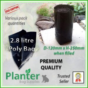 2.8 litre Tall Planter Bags - Polyethylene Growbags - for more info go to PlanterBags.com.au