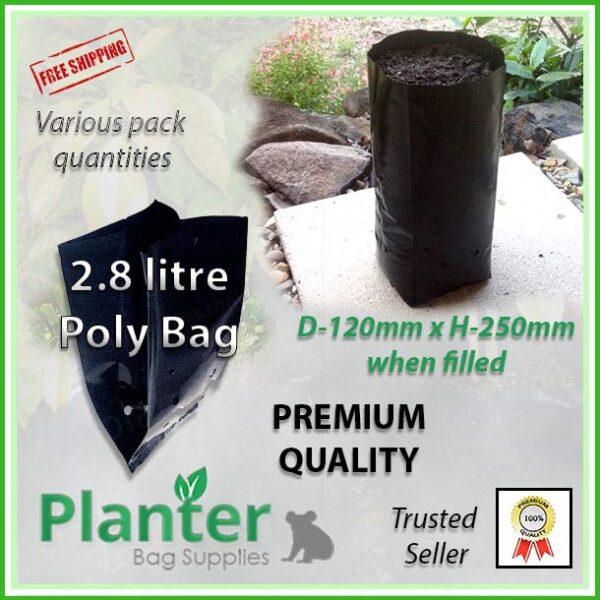 2.8 litre Tall Planter Bags - Polyethylene Growbags - for more info go to PlanterBags.com.au