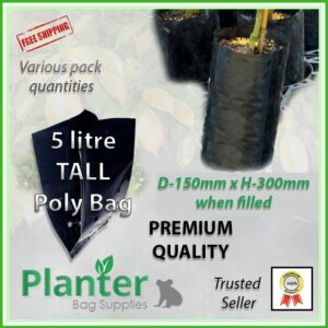 5 litre Tall Planter Bags - Polyethylene Growbags - for more info go to PlanterBags.com.au