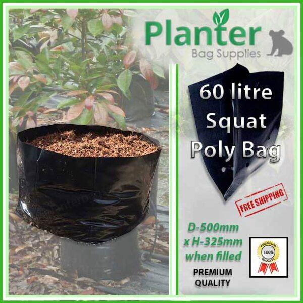 60 litre Squat Planter Bags - Polyethylene Growbags - for more info go to PlanterBags.com.au