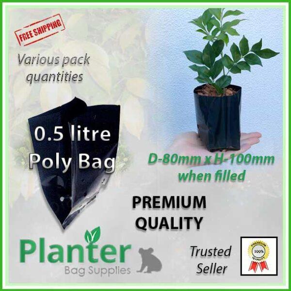 0.5 litre SQUAT Poly Planter Bags - for more info go to PlanterBags.com.au