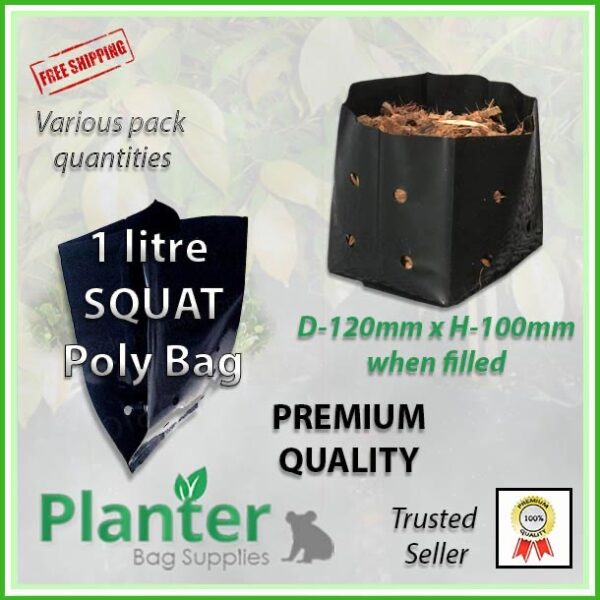 Poly 1 Litre Squat Growbags